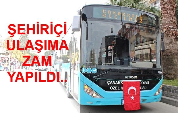 Çanakkale Toplu Taşıma Ücretlerine Zam Yapıldı..