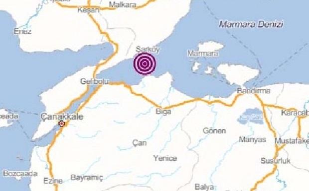 Biga Açıklarında Deprem