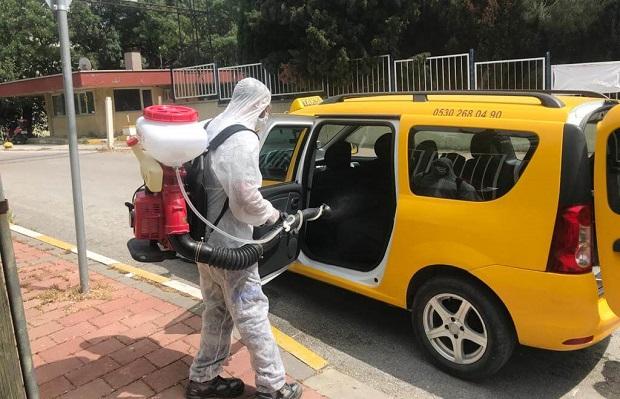 Taksi Durakları ve Pazaryerleri Dezenfekte Ediliyor..