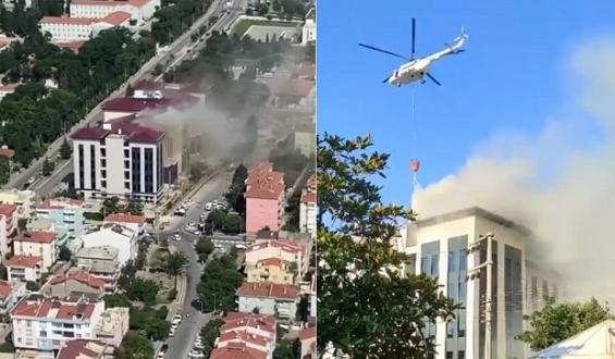 Yangına Helikopterle Müdahale Edildi